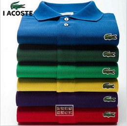 cores altas camiseta polo Desconto Puro Sólido cor 100% Algodão Camisa Ocasional Dos Homens de Negócios Top Vender Alta Qualidade Clássico Design Camisas de Vestido dos homens camisa polo