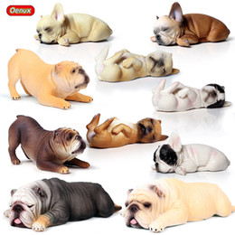 2020 figurines mignonnes gros En gros 10pcs / set Belle Britannique Sleep Bulldog Famille Figurines Mignon Puppy Pet Modèle Figurine PVC Éducatif Jouet Enfants Cadeau figurines mignonnes gros pas cher
