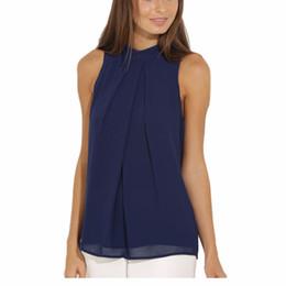 без рукавов блузка горячая Скидка Summer Sleeveless Women Blouse Tops Casual Chiffon Shirt Office Casual Lady Tops Hot!