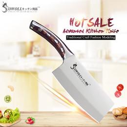 Accessori coltelli da cucina online-SOWOLL 4cr14mov Coltelli da cucina in acciaio inox 7 pollici Coltello da cucina a pezzi Coltello in resina Manico in mannaia Accessori da cucina