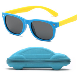 3b221bcf9485 blue baby frame Coupons - Rubber frame Polarized Kids Sunglasses with Case  Boys Girls Silicone Safety