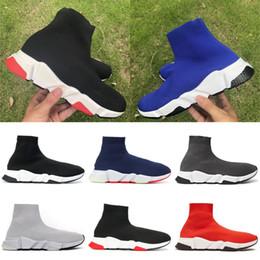 2019 Speed Trainer Socken Schuhe Casual Turnschuhe für Männer Frauen Designer Schuhe High Mid Schwarz Rot Fashion Luxury Plattform Chaussure