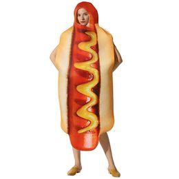 figurinos de moda engraçados Desconto Salsicha Food Print Halloween Cospaly Engraçado Trajes Da Mascote Do Desenhador Fastfood Festival Unisex Moda Estilo Casual Vestuário