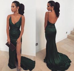 Vert foncé sirène robes de bal 2019 bretelles spaghetti formelles Pageant vacances portent des robes de soirée de remise des diplômes sur mesure plus la taille ? partir de fabricateur
