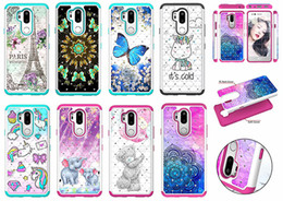 2019 caja de flores de tpu Diamond Hardproof PC + TPU Lace Flower Butterfly bear horse Case para LG G7 Q7 V40 Aristo2 k10 2018 Stylo 4 X Power2 caja de flores de tpu baratos