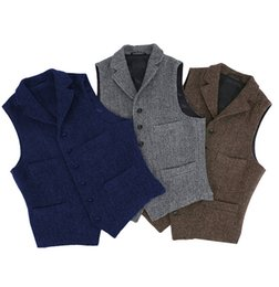 waistcoats v neck for suit Promo Codes - Mens Suit Vest Lapel V Neck Wool Herringbone Casual Formal Business Vest Waistcoat Groomman For Wedding Green Burgundy Brown