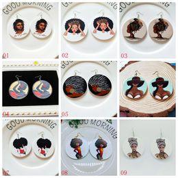 Wholesale Neue ankunft mm Afrikanische kopf muster ohrringe afro mädchen holz ohrringe Vintage holz Afrikanische mädchen angelhaken ohrringe