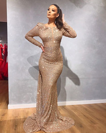 robes red carpet Coupons - Gold Sequined Long Sleeve Mermaid Evening Gowns 2020 Black Girls Prom Dress Evening Wear Gown robes de soirée vestidos de fiesta