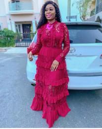 2019 Büyük boy Yeni stil klasik Afrika kadın Dashiki moda Dantel kenar dikiş uzun elbise cheap african lace fashion styles nereden afrika dantel moda stilleri tedarikçiler