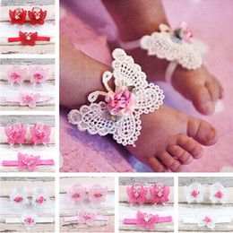 Decoração de pés de crianças on-line-2019 3 PCS Flor Headband Do Bebê Meninas Sandálias Com Os Pés Descalços Acessórios Para Os Pés Do Cabelo Elástico Moda Pé Decoração Caçoa o Presente