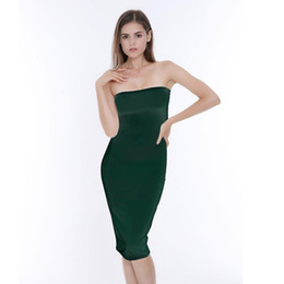 2591e854fe9 good quality Women s 2019 New Spring and Summer Sexy Chest Bag Hip Dress  Mid-Calf Tight Solid Color Dress White Black Green Army-Green