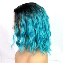 2019 parrucche delle ragazze nere Parrucche sintetiche ricce 16 pollici di colore blu con radici nere Parrucca in fibra chimica Divinità nere Parrucche sintetiche colorate per le ragazze del sole sconti parrucche delle ragazze nere