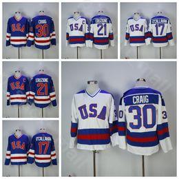 2019 американский хоккейный трикотаж 1980 США Хоккейный Колледж 30 Джим Крейг Джерси Мужчины Винтаж 21 Майк Эрузионе 17 Джек Окаллахан Синий Белый В гостях Все сшитые дешево американский хоккейный трикотаж