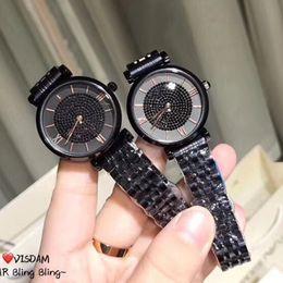 Japão vestido preto on-line-Design famoso Top de Luxo todas as mulheres negras Vestem Relógios Diamantes Japão Movimento Legal Senhora Relógio de quartzo Bom Lazer Senhora relógio de pulso dropshipp