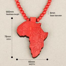pendente lungo catena elegante Sconti Hip Fashion Wood made elegante Africa Mappa sospensione Hop Beads lunghe degli uomini chain dei monili di legno regalo Ciondoli Collane Girocollo S1003