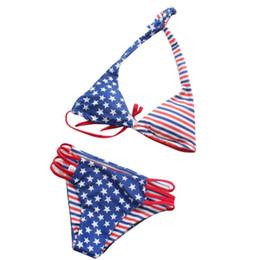 Bandiera americana bikini online-Estate nuovi bikini triangolo diviso sexy modelli esplosione bandiera americana donne costume da bagno europeo e americano
