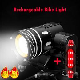 Faróis mtb on-line-USB recarregável 15000LM XM-L T6 LED MTB Frente bicicleta farol traseiro de bicicleta luz dianteira