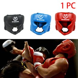 Protetores de couro on-line-Chefe Guarda Boxe Prático Fitness Equipment Martial Art Boxe Cabeça do capacete Guarda Taekwondo Faux Leather