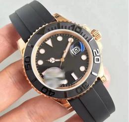 2019 herrenuhren luxus rose Rubber Rose Gold Luxus Herrenuhr YACHT AAA MASTER 40mm Automatische Bewegung Mechanische Herren Edelstahl Uhren Armbanduhr kostenloser versand günstig herrenuhren luxus rose