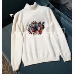 20c3513ab 2019 malha personalizada Svoryxiu Runway Custom Branco Gola Alta Camisola  Pullovers de Luxo das mulheres pequeno