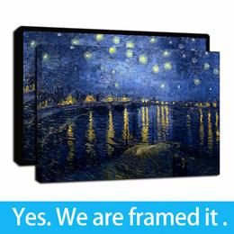 Famosas pinturas al óleo del paisaje online-Obra enmarcada pinturas al óleo Paisaje famoso de Van Gogh Ródano Noche estrellada Mundial impresión colorida de pinturas de arte pared de la lona de Fotos