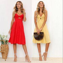 Oscillare online-Vestiti da donna Summer Tie Front V-Neck Spaghetti Strap Button Down Sleeveless A-Line Backless Swing Midi Dress