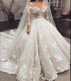 Halbe hülsenhochzeitskleidspitzen online-3D Floral Appliques Brautkleid 2019 Sheer Jewel Neck Durchsichtig Top Halbarm Luxus Brautkleider