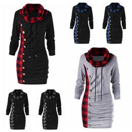 1d17674bff0 red black plaid hoodie 2019 - Plaid Button Hoodie Women Patchwork Long  Sleeve Hoodies Cowl Neck