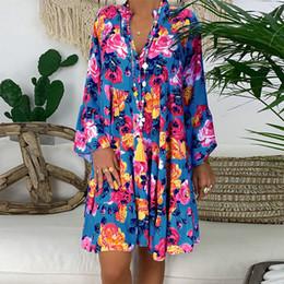 2020 vestidos de verano étnicos para mujer Las mujeres ocasionales del mini vestido de manga larga suelta Boho Kaftan Túnica gitana Ethnic Print vestido del verano de las mujeres Vestido de tirantes vestidos # J30 vestidos de verano étnicos para mujer baratos