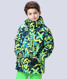 Giubbotti gialli da ragazzi online-Giacca da sci da ragazzo verde giallo doodle maschio bambino giacca sportiva da esterno per adolescenti snowboard sci cappotto impermeabile 10k termico