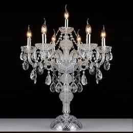 cristal cabeça luz Desconto Europeu luxruy E14 candeeiro de mesa de cristal de cristal 7 cabeças de moda candeeiro de mesa de cristal sala de estar lâmpadas quarto lâmpada K9 top luzes de mesa de cristal