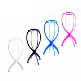 Exibição de chapéu de plástico on-line-Perucas coloridas Stand Portátil Dobrável Flexível Suporte de Peruca Display Stand Acessórios Do Cabelo Plástico Chapéu Exibição RRA1514