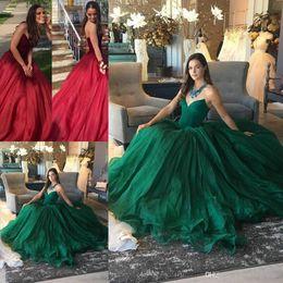 Chérie vert foncé princesse robes de bal sans manches longues robes de soirée avec brosse train élégantes robes de cérémonie ? partir de fabricateur