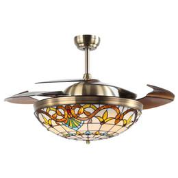 Abanicos de colores online-Tiffany Plegable ventilador de techo lámpara de color vidrio coloreado silencioso control remoto del motor 3 color de luz y 3 velocidades de viento ajustables