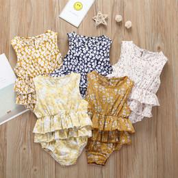 Canada Belle nouveau-né vêtements pour bébé barboteuse 2019 plus récent enfants bébé filles Floral à volants barboteuses combinaison costume bébé été princesse Costume Offre