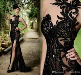 Пром платья Русалка Элегантный Sexy Черный Sheer Jewel шеи высокого щелевая вечерние платья плюс размер сшитое Дешевые Vestidos De Festa BO7602 от
