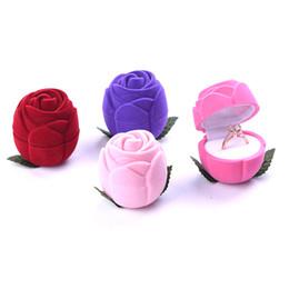 2019 anel de fita vermelha atacado Atacado Rose Caixa De Jóias De Flanela Anel Criativo bonito Caixa Orelha Prego Caixa de Presente linda mistura 3 pcs, frete grátis