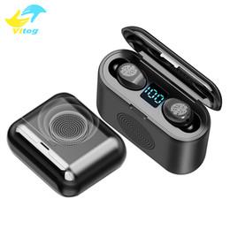 altoparlante dell'orecchio del bluetooth Sconti Vitog Ultime 2In1 TWS Mini Bluetooth 5.0 auricolare di Smart Toccare cuffie in-ear Headset Wireless Speaker Surround 9D con F9 display a led