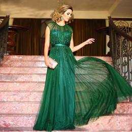 Canada Robes de soirée vert émeraude une ligne paillettes en mousseline de soie étage longueur bijou pure cou robes de bal robe de soirée robes festa avec satin ceinture cheap emerald green satin gown Offre