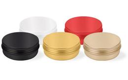 Latas de té vacías online-2 oz 60 ml 60 g Multicolores Redondos Latas de Aluminio Tapa de Tornillo Latas de Metal Tarros Vacíos Resbalón Resbalón Contenedores Para maquillaje hoja de té