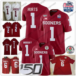 Oklahoma sooners divisa online-2020 Oklahoma Sooners Jalen Hurts Jersey 2 CeeDee Lamb # 1 Kyler Murray # 6 Baker Mayfield Rosso Bianco Uomini Youth 150 ° Rose Peach Bowl