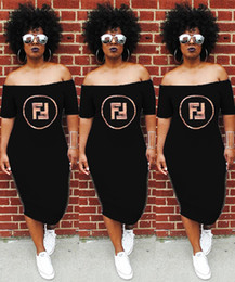 Vêtements à paillettes pour femmes en Ligne-Robes d'été femmes slash cou paillettes sexy lady lettres imprimées vêtements club robes de rue lâche