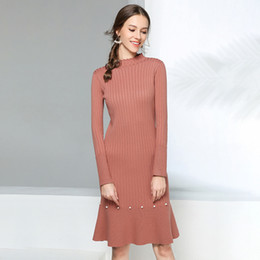 6df797c01d6 Pop2019 Pattern Knitting Dress Woman And Rendering Fund Sexy Long Sleeve  Overknee Sweater Skirt Generation Hair
