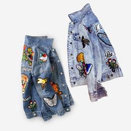 bottone militare in su Sconti Giacca donna in denim ricamato giacca autunno / inverno moda Basic Coats Giacche Tiger Floral donna vintage animali abbigliamento