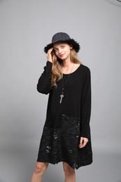 2019 vestito nero dalla signora grassa Abiti casual per donna Europa e America Style Girocollo manica intera Nero Taglia grande Abiti per donne grasse vestito nero dalla signora grassa economici
