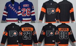 Weibliche eishockey-trikots online-Männlich / Weiblich / Kinder 2017 Philadelphia Flyers Black # 88 Linoros # 27 Leer auf der Rückseite / New York Rangers # 26 Vesey Blue Hockey-Trikots