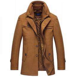 Cappotto uomo jaket online-Giacche di lana Trench Uomini spessore inverno Windbreaker lungo cappotto di lana Casaco Masculino Palto Casaco Jaket Mens 4XL Trench
