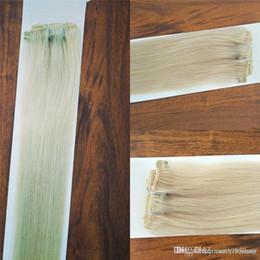 Clipe de cabelo platina on-line-Reta de seda Não-remy Cabelo Brasileiro Platinum Blonde Cor 60 # Clipe de Cabelo Humano Em Extensões de 70 Grama 12 a 24 inche, DHL Livre