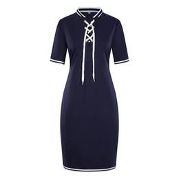 Argentina 6XL Womens Summer Casual Dress Stand Collar con Ribbon Lápiz vestido Diseñador de moda vestido con paneles supplier 4xl 6xl summer dresses Suministro