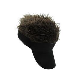 le più belle parrucche Sconti Parrucca femminile maschile Divertente perdita di capelli Regali fantastici Cappellino da baseball da uomo Cappelli sportivi per capelli con parasole finto Flair 1 pezzo